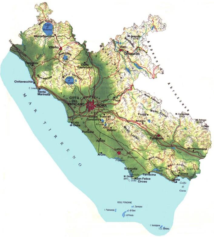 Cartina Geografica Fisica Lazio.Www Rositour It Lazio Province E Comuni Viaggi Di Gruppo